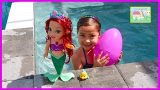 Baby Colors of the Sea Ariel the Little Mermaid LightUp Water Toys + Big Egg Surprise Little Kingdom