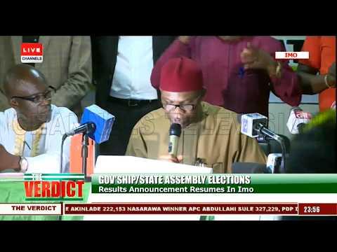 PDP's Emeka Ihedioha Declared Winner Of Imo Gov'ship Poll