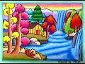Cara mudah menggambar pemandangan air terjun beserta gradasi warna oilpastel