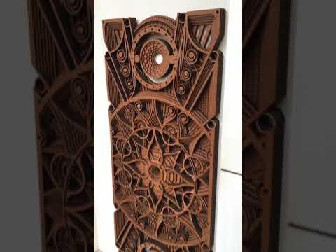 3D Wall Mural - Rectangle - Hypnotic Shapes (Wood Wall Hang Decor, Layered Mandala)