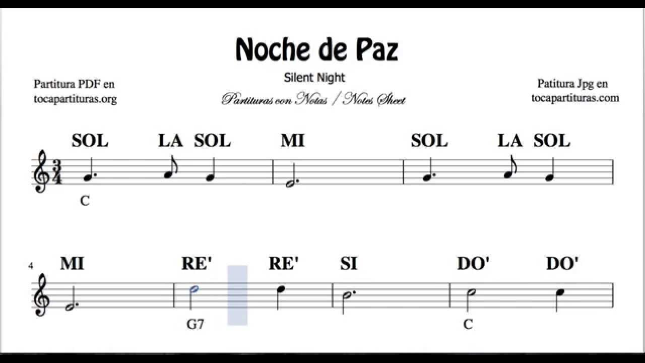 Noche De Paz Partitura Con Notas Para Flauta Violín Oboe