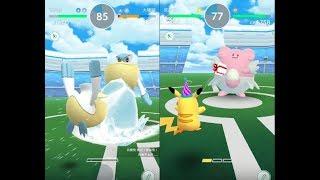 【Pokemon GO】收服派對皮卡丘與第三代寶可夢大嘴鷗道館對戰! [精靈寶可夢GO]