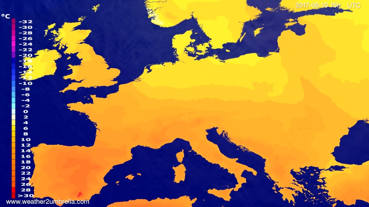 Temperature forecast Europe 2017-06-08