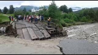 смыло мост в Осетии