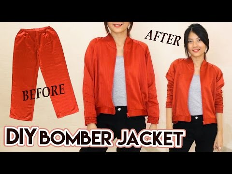 DIY Turn Old Pants Into Bomber Jacket | Satin Raglan Jacket | Clothes Transformation