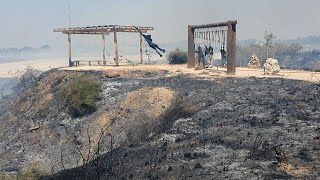 שריפה בניר עם בעקבות טרור הבלונים