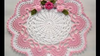 Centro de mesa em Crochê branco e Rosa-#Parte1