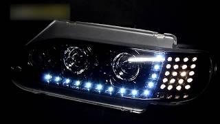 Черные фары на ВАЗ 2113 тюнинг, светодиодные ходовые огни