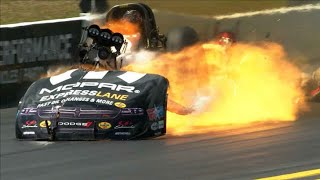 DOUBLE FUNNY CAR EXPLOSION at 2018 Gatornationals