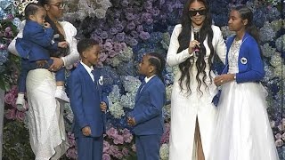 Lauren London And NIPSEY HUSTLE 'S KIDS AT THE FUNERAL
