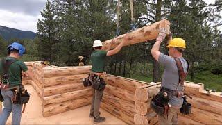 Single Level Log Home Assembly, Subfloor- Lake Creek