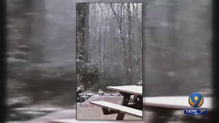 Snow falls in Charlotte before changing over to rain for rest of the day