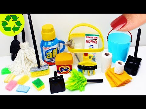 How to Make Miniature Cleaning Supplies / Products - 10 Easy DIY Miniature Doll Crafts