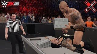 WWE 2K16 Extreme Rules 2016: AJ Styles vs Roman Reigns (Randy Orton returns & attacks Reigns)