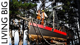 Old Sailboat Transformed Into Epic Treehouse Pirate Ship ☠️