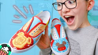 Painting Custom Disney Parks Shoes! Foods & Treats Themed Shoes!// Disney DIY