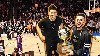 DEVIN BOOKER WINS 3 PT CONTEST! *HE GAVE ME THE TROPHY*