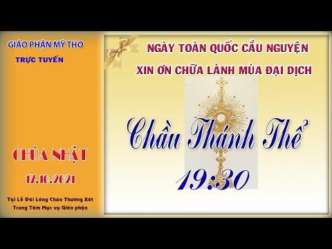 19g30 CN 17/10 : Chầu Thánh Thể   tại lễ đài LTX Trung Tâm Mục Vụ   do Dòng MTG Mỹ Tho phụ trách