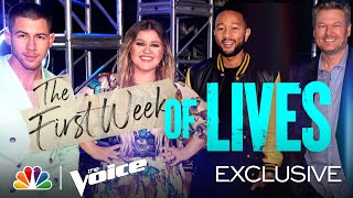 The First Week of Lives for Teams Kelly, Nick, Legend and Blake - The Voice Lives 2021