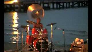 Colin Offord with drummer Calvin Welch. music on the beach