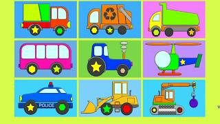 Мультик про  машинки собираем трактор, вертолет, самосвал, автобус, мусоровоз, полиция, гусеничный т