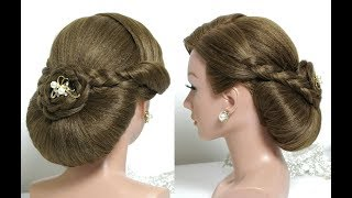 Bridal Hairstyle For Long Hair Tutorial. Wedding Updo With Braids