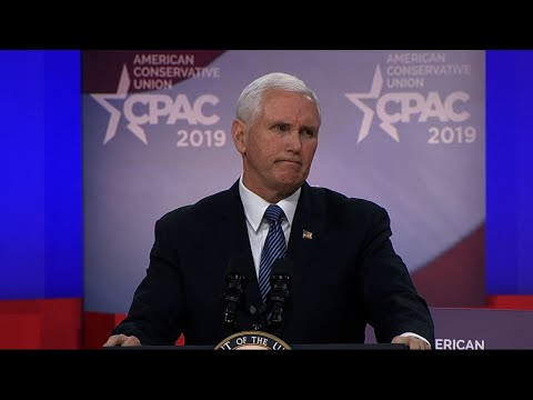 "Eyeing the 2020 re-election battle, the Trump administration, including Vice President Mike Pence, is charging Democrats with embracing the policies of ""socialism."" (March 1)"