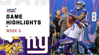 Vikings vs. Giants Week 5 Highlights | NFL 2019