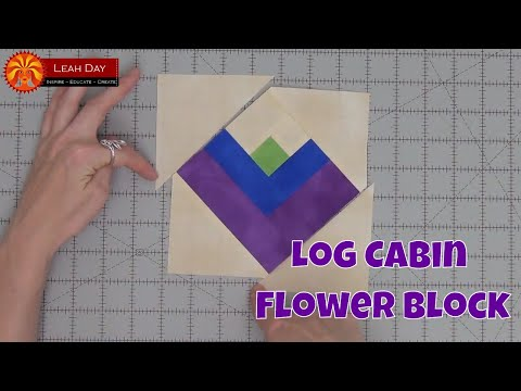 Piece a Log Cabin Flower Quilt Block - Beginner Quilting Tutorial with Leah Day