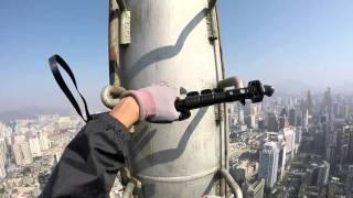 rooftopping World Finance Centre, shenzhen, china