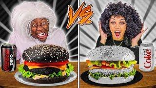 BLACK FOOD VS WHITE FOOD CHALLENGE