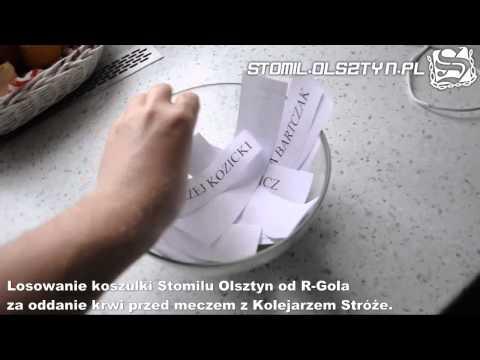 Losowanie koszulki Stomilu Olsztyn od R-Gola za oddanie krwi przed meczem z Kolejarzem Stróże