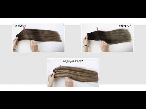 Full Shine Sew In Hair Weft Bundles 100% Remy Human Hair Balayage Highlights (#1B/Silver/1B)