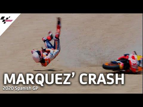 MotoGP スペインGP 初戦から大クラッシュしたマルクマルケスクラッシュ動画