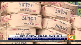 Police confiscate 5,200 sachets of chang'aa in Kapsabet.