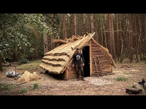 Building a Thatch Roof House with Hand Tools [01:25:05]