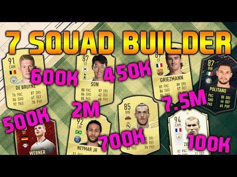 FIFA 20 SQUAD BUILDER 100K 450K 500K 600K 700K 2M 7.5M SQUAD BUILDER FUT CHAMPIONS TEAMS