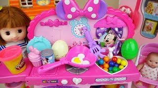 Baby doll play doh kitchen cooking play and surprise eggs play