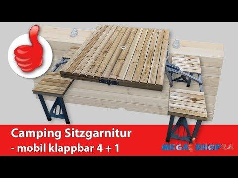 Camping Festival Picknick Sitzgarnitur mobil klappbar 4+1 Mega-Shop24