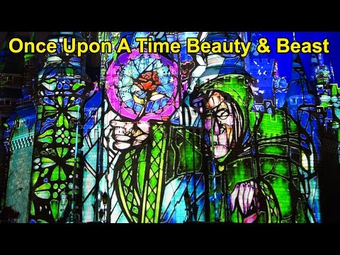 NEW Once Upon A Time Castle Projection Show - Beauty & The Beast Segment & Finale, Magic Kingdom