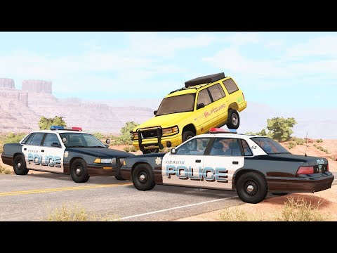 BeamNG Drive - REALISTIC Chasing POLICE Roadblocks Crashes