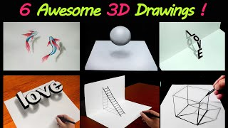 6 Easy 3D Drawing Tutorial ! 😱 Easy 3D illusion Drawing tutorials