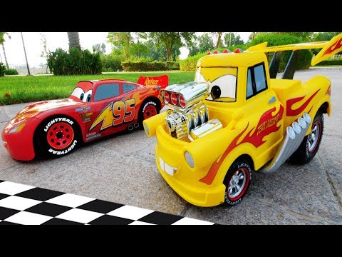 Disney Cars Toys Super Race With Lightning Mcqueen And Tow Mater !!!