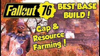 Fallout 76 BEST BASE BUILD TUTORIAL! Caps & Resource Farming Location!