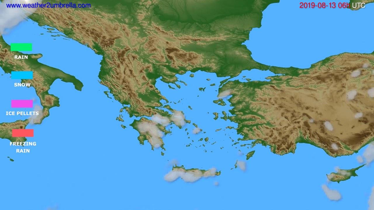 Precipitation forecast Greece // modelrun: 00h UTC 2019-08-11