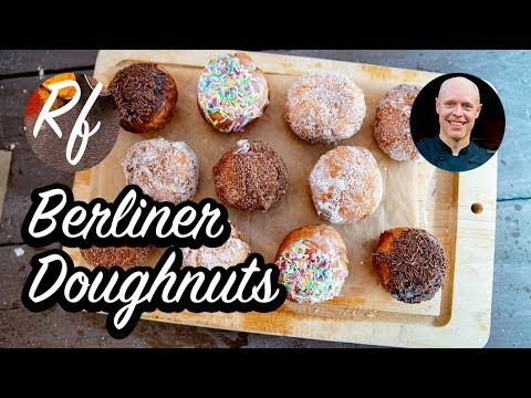How to make Berliner doughnuts with glazing, sprinkles and filling.   Full recipe in clip. Makes 22 Berliner douhnuts. >