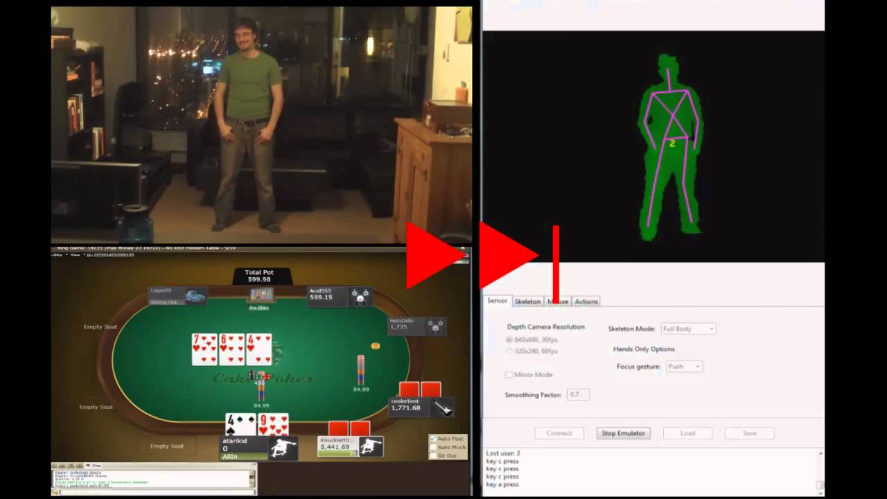 Can You Spot This Guy's Tell Playing Online Poker With Kinect?