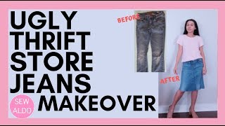 Super Easy DIY Jean Pants To To Jean Skirt Refashion Sewing Projects