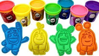 Oddbods Play-Doh Molds & Surprise Toys Zee Newt Slick Fuse Bubbles Pogo Jeff Learn Rainbow Colors