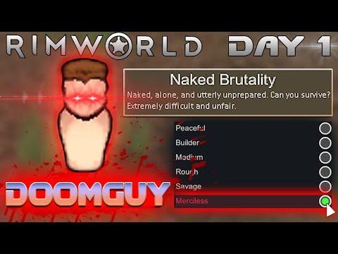 Doomguy VS RimWorld on MERCILESS Difficulty + NAKED BRUTALITY Start (Hardest)